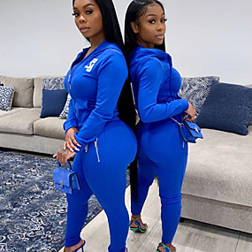 cheap Women-Women's 2 Piece Full Zip Tracksuit Sweatsuit Jogging Suit Street Casual Winter Long Sleeve Spandex Breathable Soft Fitness Gym Workout Performance Running Training Sportswear Solid Colored Jacket