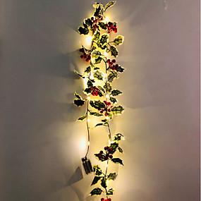 povoljno Svjetlosne trake i žice-2m 20leds božićno lišće crvenog voća vinove loze led svjetla zahvalnica božićni dom prozora vrt ukras bez isporuke baterije