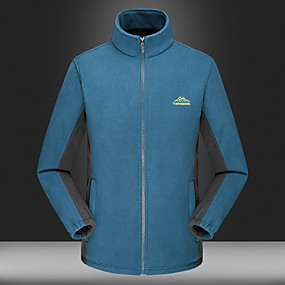 cheap Camping, Hiking & Backpacking-Men's Hiking Jacket Hiking Fleece Jacket Autumn / Fall Winter Outdoor Solid Color Thermal Warm Windproof Fleece Lining Warm Winter Fleece Jacket Fleece Full Length Visible Zipper Hunting Fishing