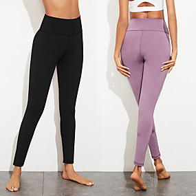 cheap Yoga & Fitness-Women's High Waist Yoga Pants Cropped Leggings Bottoms Tummy Control Butt Lift Breathable Black Purple Spandex Yoga Fitness Gym Workout Sports Activewear Stretchy / Quick Dry