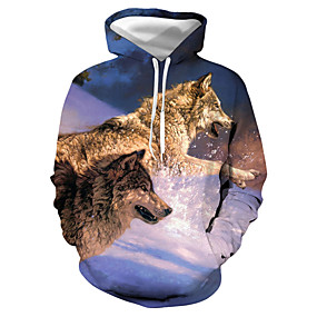 cheap Athleisure Wear-Men's Pullover Hoodie Sweatshirt Graphic Animal Daily Club Casual Hoodies Sweatshirts  Blue
