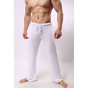 cheap Yoga & Fitness-Men's Yoga Pants Drawstring Pants / Trousers Bottoms Quick Dry Lightweight Solid Color White Black Gray Ice Silk Yoga Fitness Pilates Summer Sports Activewear High Elasticity Loose