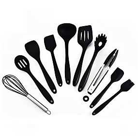 cheap novelty kitchen tools-Silicone Kitchenware 10 Piece Set High Temperature Resistant Silicone Kitchenware Non Stick Pot Cooking Spatula Spoon Set All In One Kitchenware