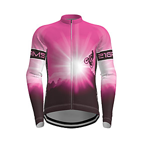 cheap Cycling & Motorcycling-21Grams Men's Long Sleeve Cycling Jersey Polyester Purple Yellow Red Novelty Bike Jersey Top Mountain Bike MTB Road Bike Cycling Quick Dry Breathable Reflective Strips Sports Clothing Apparel