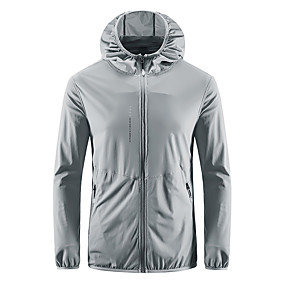 cheap Camping, Hiking & Backpacking-Men's Hiking Jacket Hiking Windbreaker Spring Summer Outdoor Sunscreen Ultra Light (UL) Ultraviolet Resistant Quick Dry Top Spandex Camping / Hiking Hunting Fishing Dark Grey White Light Green