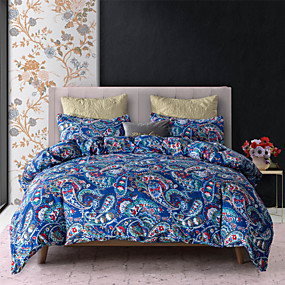 cheap Bedding Sets-Blue Flora Print 3-Piece Duvet Cover Set Hotel Bedding Sets Comforter Cover with Soft Lightweight Microfiber(Include 1 Duvet Cover and 1 or 2 Pillowcases)