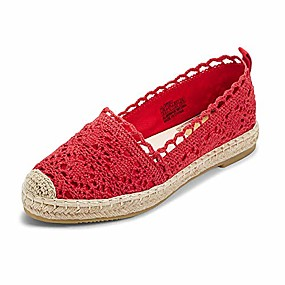 cheap Women's Slip-Ons & Loafers-jenn ardor espadrille sneakers for women: hollow canvas casual flats classic slip-on comfortable shoes (9.5 b(m) us (25.7cm), red)