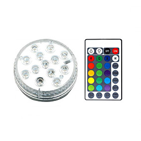 cheap Outdoor Wall Lights-13 LED Submersible Lights Remote Controlled RGB Changing Underwater Waterproof Lights for Swimming Pool Fountain Aquarium Vase Hot Tub Bathtub Party 1Pack
