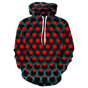 billige Hættetrøjer og sweatshirts til herrer-Herre Plusstørrelser Gade Hættetrøje Hattetrøje Pullover-sweatshirt Geometrisk 3D Hætte Basale Afslappet / Hverdag Hættetrøjer Sweatshirts Lilla Rød Blå