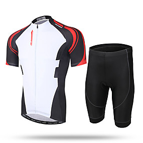 cheap Cycling & Motorcycling-21Grams Men's Short Sleeve Cycling Jersey with Shorts Summer Coolmax® Mesh Spandex White / Black Novelty Bike Shorts Pants / Trousers Jersey 3D Pad Ultraviolet Resistant Quick Dry Breathable / Lycra