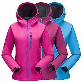 cheap Camping, Hiking & Backpacking-Women's Hiking Jacket Hoodie Jacket Autumn / Fall Winter Outdoor Solid Color Waterproof Windproof Fleece Lining Warm Jacket Top Softshell Hunting Fishing Camping / Hiking / Caving Violet Fuchsia Blue
