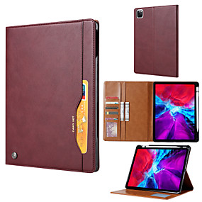 cheap iPad case-Case For Apple iPad Pro 12.9''  Ipad Pro 12.9''2020  Card Holder Shockproof Magnetic Full Body Cases Solid Colored PU Leather  TPU