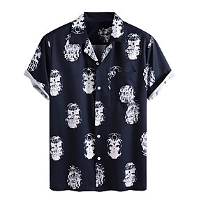 cheap Men's Halloween Shirt-Men's Halloween Shirt Graphic Skull Short Sleeve Tops Vintage Blue