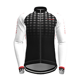 cheap Cycling & Motorcycling-21Grams Men's Long Sleeve Cycling Jersey Polyester White Yellow Black Plaid Checkered Gradient Novelty Bike Jersey Top Mountain Bike MTB Road Bike Cycling Quick Dry Breathable Reflective Strips Sports