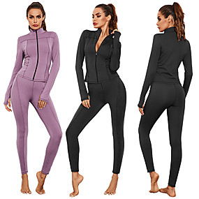 cheap Yoga & Fitness-Women's 2pcs Yoga Suit Winter Front Zipper Fashion Black Purple Spandex Yoga Fitness Gym Workout Jacket Tights Clothing Suit Long Sleeve Sport Activewear Tummy Control Butt Lift Breathable Quick Dry