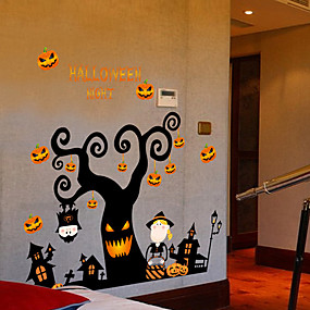 cheap Halloween Toys-Halloween Party Toys Window Sticker Wall Stickers Halloween Window Clings Halloween Wall Decals 2 pcs Pumpkin Cartoon PVC Kid's Adults Trick or Treat Halloween Party Favors Supplies