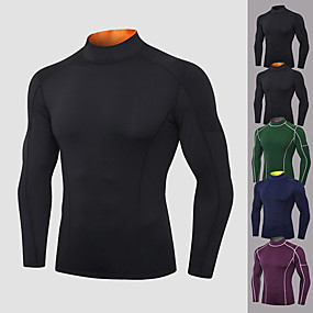cheap Yoga & Fitness-YUERLIAN Men's Long Sleeve High Neck Compression Shirt Running Shirt Tee Tshirt Top Athletic Athleisure Winter Spandex Quick Dry Breathable Soft Fitness Gym Workout Performance Running Training