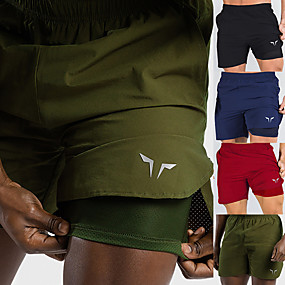 cheap Running & Jogging-Men's Running Shorts Sports & Outdoor Bottoms 2 in 1 Liner Pocket Summer Gym Workout Running Walking Jogging Trail Quick Dry Breathable Soft Sport Solid Colored Red Army Green Black Navy Blue