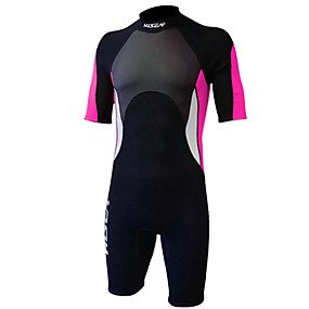cheap Surfing, Swimming & Diving-HISEA® Women's Shorty Wetsuit 3mm SCR Neoprene Diving Suit Thermal Warm Waterproof Zipper Quick Dry Micro-elastic Short Sleeve Back Zip - Swimming Diving Surfing Scuba Patchwork Autumn / Fall Spring