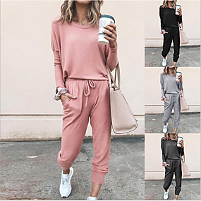cheap Women-Women's Sweatsuit 2 Piece Set Black Pink Drawstring Pocket Loose Fit Minimalist Crew Neck Solid Color Cute Sport Athleisure Clothing Suit Long Sleeve Soft Oversized Comfortable Yoga Running Everyday