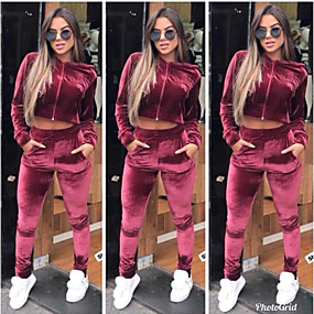 cheap Running & Jogging-Women's 2 Piece Full Zip Tracksuit Sweatsuit Jogging Suit Street Casual 2pcs Winter Long Sleeve Velvet Quick Dry Breathable Soft Fitness Gym Workout Performance Running Training Sportswear Solid