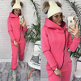 cheap Running & Jogging-Women's One-piece Jumpsuit Tracksuit Sweatsuit Street Casual Winter Long Sleeve Fleece Thermal Warm Breathable Soft Fitness Gym Workout Performance Running Jogging Sportswear Solid Colored Black Pink