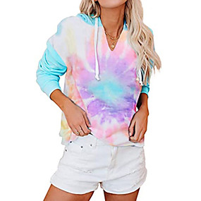 cheap Athleisure Wear-Women's Pullover Hoodie Sweatshirt Tie Dye Daily Going out Other Prints Casual Cute Hoodies Sweatshirts  Loose Blue Blushing Pink Orange
