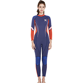 cheap Surfing, Swimming & Diving-Dive&Sail Women's Full Wetsuit 3mm SCR Neoprene Diving Suit Thermal Warm Quick Dry Micro-elastic Long Sleeve Back Zip - Swimming Diving Surfing Scuba Patchwork Autumn / Fall Spring Summer