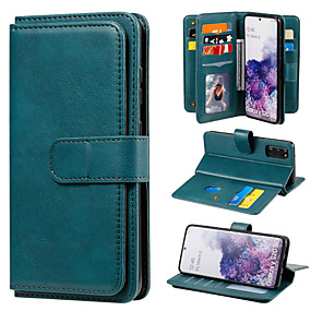 cheap Samsung Case-Case For Samsung Galaxy A21 A21S A31 A41 A51 5G A71 5G A51 A71 M31 Note 20 Card Holder Full Body Cases Solid Colored PU Leather