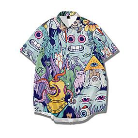 cheap Men's Halloween Shirt-Men's Halloween Shirt Graphic Print Short Sleeve Tops Basic Streetwear Light Blue