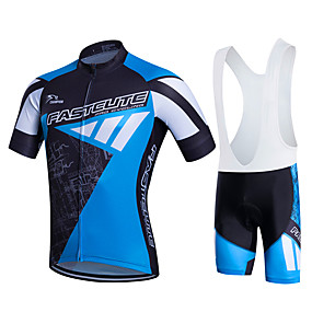 cheap Cycling & Motorcycling-21Grams Men's Short Sleeve Cycling Jersey with Bib Shorts Summer Lycra Polyester White Yellow Red Plus Size Bike Clothing Suit 3D Pad Quick Dry Breathable Back Pocket Sweat wicking Sports Patterned