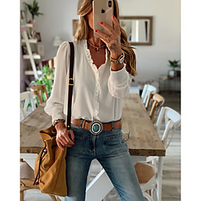 cheap Women's Tops-Women's Blouse Shirt Solid Colored Long Sleeve Ruffle V Neck Tops Casual Basic Top White