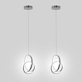 billige Nyheter-2 stk mini pendellampe led hengende lampe aluminium krom for spisestue kichten belysning