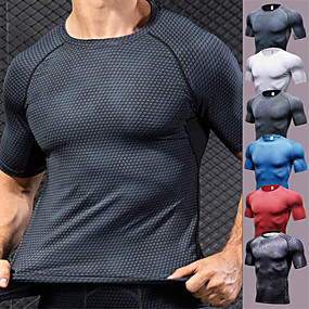 cheap Exercise, Fitness & Yoga-YUERLIAN Men's Short Sleeve Compression Shirt Running Shirt Tee Tshirt Base Layer Top Athletic Spandex Quick Dry Breathability Sweat-Wicking Fitness Gym Workout Running Sportswear Snakeskin Red
