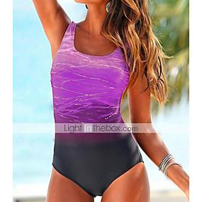 cheap Surfing, Swimming & Diving-Women's One Piece Swimsuit High Waist Color Block Tie Dye Blue Purple Blushing Pink Swimwear Bathing Suits