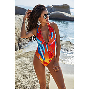 cheap Surfing, Swimming & Diving-Women's One Piece Swimsuit Padded Swimwear Bodysuit Swimwear Blue Red Breathable Quick Dry Comfortable Sleeveless - Swimming Surfing Water Sports Summer / Stretchy / Spandex