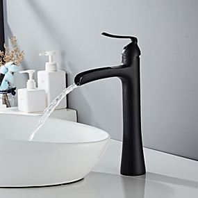 cheap Faucets/Shower System/Kitchen Tap-Bathroom Sink Faucet - Waterfall Painted Finishes Centerset Single Handle One HoleBath Taps