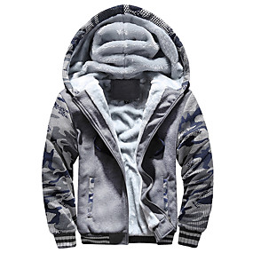 cheap Running & Jogging-Men's Long Sleeve Running Track Jacket Hoodie Jacket Full Zip Outerwear Coat Top Casual Athleisure Winter Fleece Thermal Warm Windproof Breathable Gym Workout Running Jogging Sportswear Camo