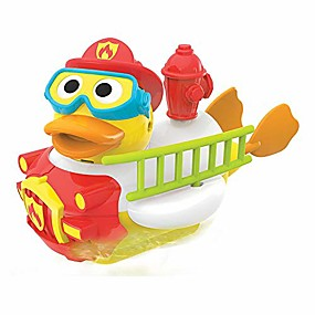cheap Pools & Water Fun-jet duck firefighter bath toy with powered water hydrant shooter - sensory development & bath time fun for kids - battery operated bath toy with 15 pieces - ages 2+