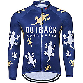 cheap Cycling & Motorcycling-21Grams Men's Long Sleeve Cycling Jersey Winter Polyester Dark Blue Animal Bike Jersey Top Mountain Bike MTB Road Bike Cycling UV Resistant Quick Dry Breathable Sports Clothing Apparel / Stretchy
