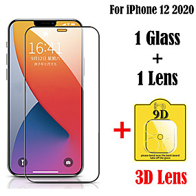 cheap iPhone Screen Protectors-2 in 1 Tempered Glass For iPhone 12 11 Pro Max Glass Screen Protector 9H 3D Lens Tempered Glass For iPhone 11 Pro Protective Film