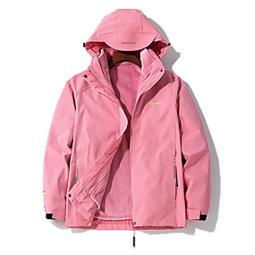 cheap Camping, Hiking & Backpacking-Women's Windbreaker Hiking Jacket Winter Outdoor Thermal Warm Waterproof Windproof Breathable 3-in-1 Jacket Top Camping / Hiking Outdoor Violet Red Pink