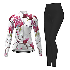 cheap Cycling & Motorcycling-21Grams Women's Long Sleeve Cycling Jersey with Tights Winter Polyester White Novelty Bike Jersey Tights Clothing Suit Quick Dry Moisture Wicking Breathable Back Pocket Sports Patterned Mountain Bike
