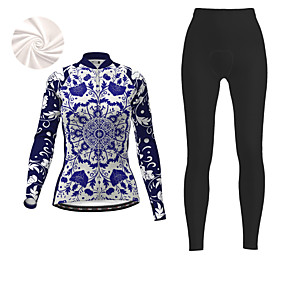 cheap Cycling & Motorcycling-21Grams Women's Long Sleeve Cycling Jersey with Tights Winter Fleece Polyester Dark Blue Floral Botanical Christmas Bike Clothing Suit Fleece Lining 3D Pad Warm Quick Dry Breathable Sports Floral