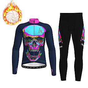 cheap Cycling & Motorcycling-21Grams Men's Long Sleeve Cycling Jacket with Pants Winter Fleece Polyester Dark Navy Gradient Sugar Skull Skull Bike Clothing Suit Thermal Warm Fleece Lining 3D Pad Warm Quick Dry Sports Gradient