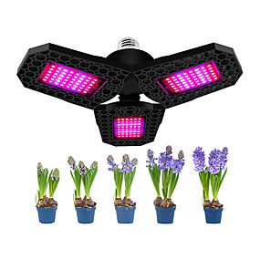 cheap Plant Growing Lights-1pcs 144 LEDs Three Leaf For Hydroponics Backyard Greenhouse Nursery Foldable Waterproof Houseplants Plant Grow Light Garden Seeding