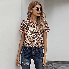 cheap Athleisure Wear-Women's T shirt Leopard Cheetah Print Mouth Print Round Neck Tops Basic Basic Top Brown