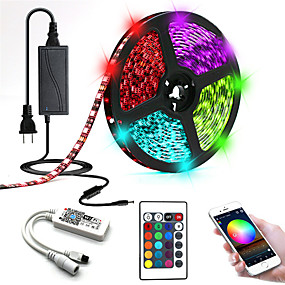 cheap WiFi Control-5m LED Strip Lightss Light Sets RGB Tiktok Lights 300 LEDs SMD5050 10mm 1 24Keys Remote Controller 1 X 12V 5A Power Supply 1 set RGB Tiktok Lights+White Waterproof APP Control Decorative 12 V