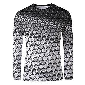 cheap Athleisure Wear-Men's T shirt 3D Print Graphic Print Long Sleeve Daily Tops Basic Elegant Silver