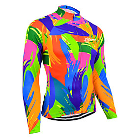 cheap Cycling & Motorcycling-21Grams Women's Long Sleeve Cycling Jersey Summer Blue+Orange Rainbow Solid Color Bike Jersey Top Mountain Bike MTB Road Bike Cycling UV Resistant Quick Dry Breathable Sports Clothing Apparel
